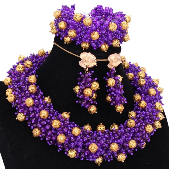 Luxury African beads Jewelry Set Purple and Gold Dubai jewellery Set Round Nigeria Beads Sets Jewelry Free Shipping Indian 2018