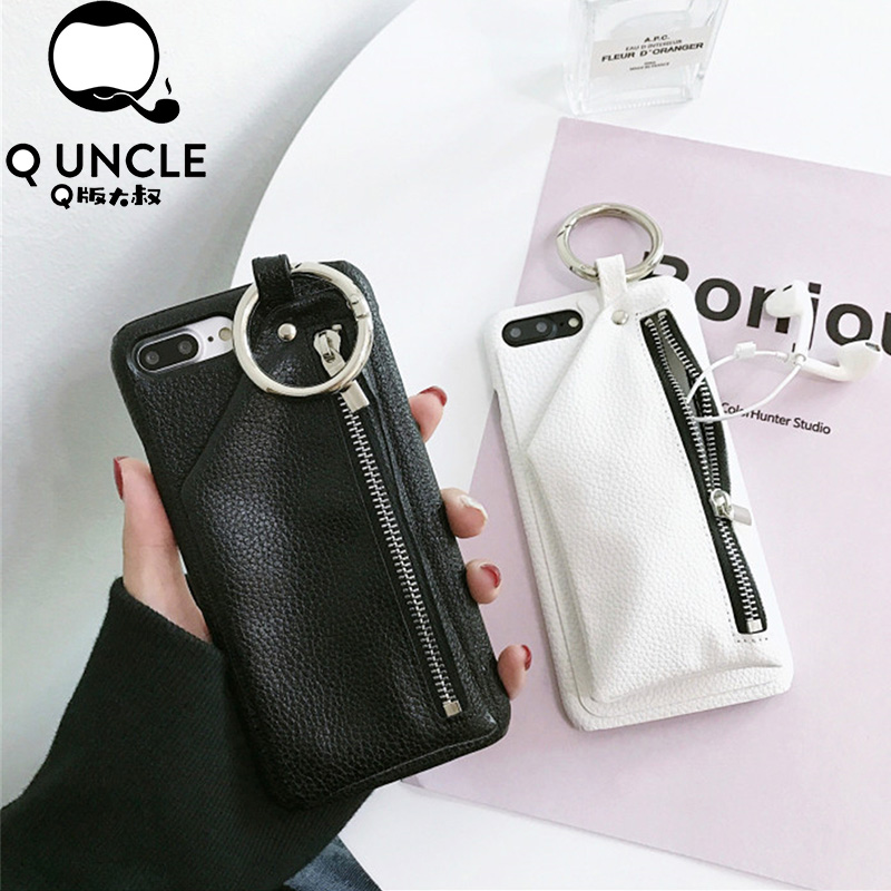 Q UNCLE Litchi Pattern PU Leather Zipper Wallet Case with Ci