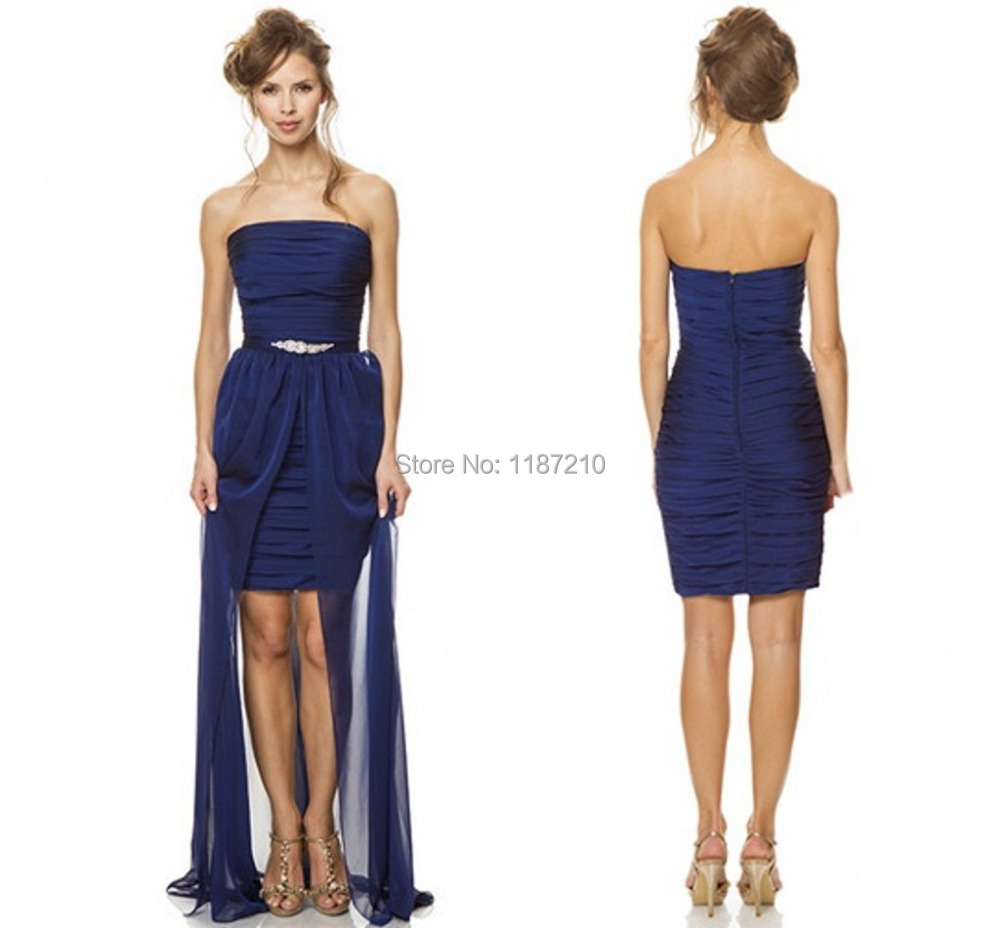 Cheap 2015 Navy Blue Bridesmaid Dresses With Detachable