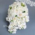 Элегантный Бело-Розовые Розы Свадебный Букет Для Свадебные Цветы Шелк Красивый Водопад Искусственный Букет Невесты Атласная Buque Noiva