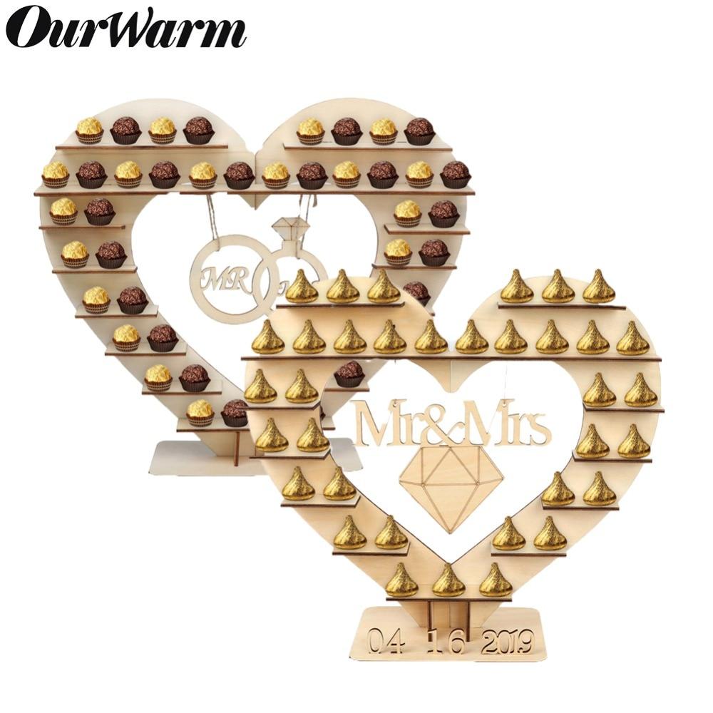 Mr Mrs OurWarm Árvore Do Coração Do Casamento Do Chocolate Ferrero Rocher Chocolate Stand Display Stand Peça Central Do Casamento Candy Bar Decor