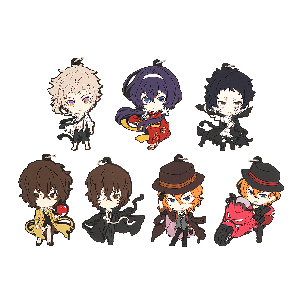 Bungo Stray Dogs Anime Atsushi Nakashima Dazai Osamu Nakahara Chuya Akutagawa Ryunosuke Rubber Keychain servamp anime vampire mahiru kuro snow lily jeje hyde food version japanese rubber keychain