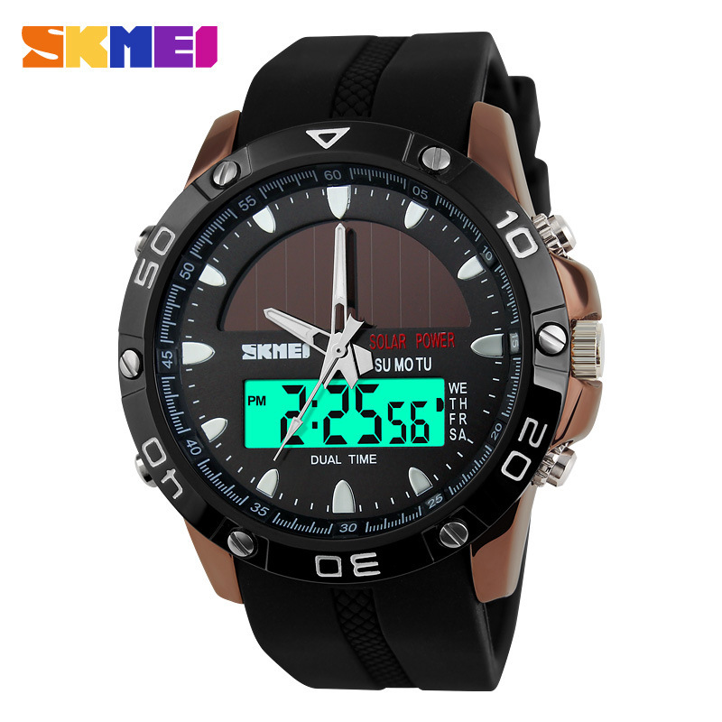2018 New Solar Energy Watch Men's LED Digital Sports Watches Men Solar Power Dual Time Sports Digital Watch Men Military Watches 1children time sports watch leisure new 5per ytl0815 ttb01
