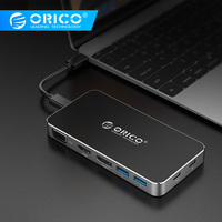 ORICO 8 in 1 Type C Docking Station Multifunction HUB Laptop Splitter USB C to DP HDMI VGA with 2*USB 3.0 Converter PD