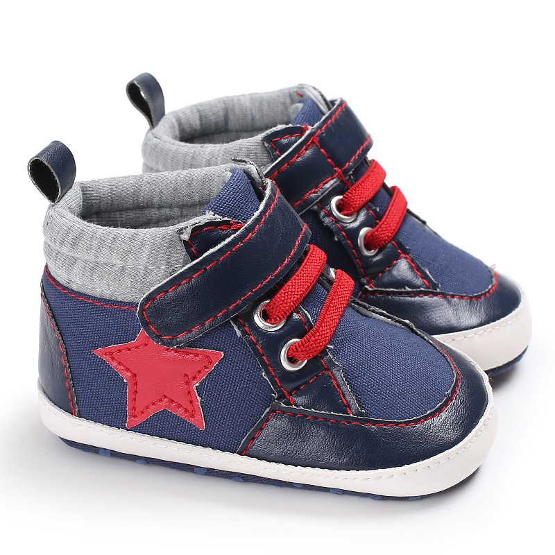 WEIXINBUY Baby Boy Shoes Newborn Kids Toddlers Canvas Cotton Crib Shoes Lace Up Casual Star Shoes First Walkers