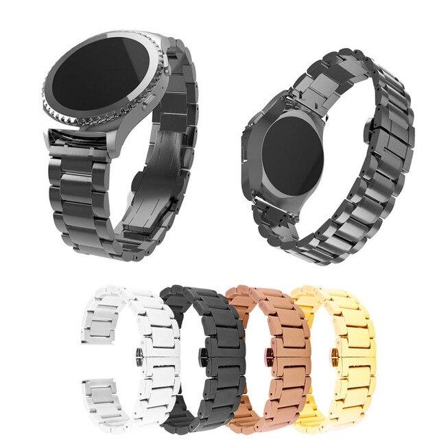 2018 ремешок 20 мм Нержавеющаясталь часы ремешок Ремешок металлической застежкой для Samsung Galaxy Шестерни S2 высококачественные классические Ремешки для наручных часов