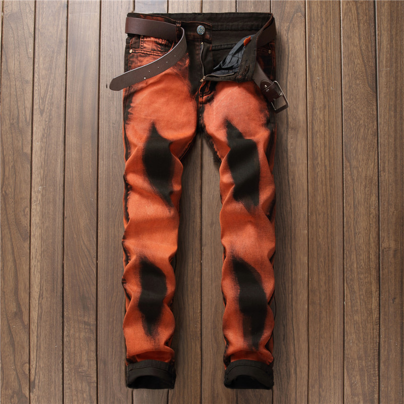 ФОТО 2017 New Fashion Men's Jeans Men Slim Straight Orange Stretch Jeans High Quality Designer Denim Pants Nightclubs Singers