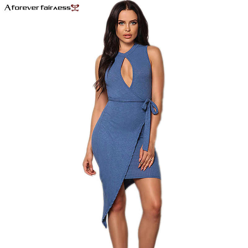 A Forever Summer Fashion Halter Neck irregular Belt Dress Chest Sexy Hollow Slim Package Hip Dress Party Club Dresses AFF1107