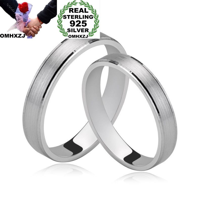 OMHXZJ Wholesale European Fashion Woman Man Party Wedding Gift Silver Simple Lovers 925 Sterling Silver Ring RR205