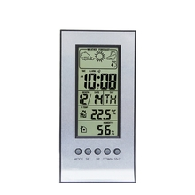 Indoor Wireless Weather Thermometer Hygrometer Station Daily Snooze Clock Weather Forecast Calendar Temperature Humidity Meter wireless digital weather station latest new white remote multifunction weather forecast clock temperature humidity meter