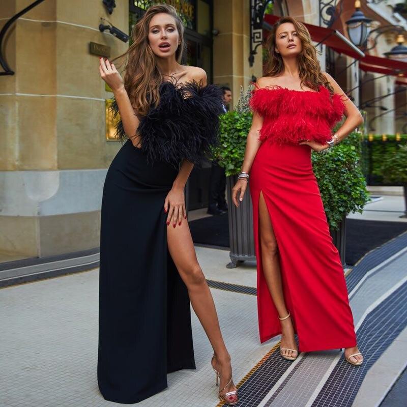 Vestido Fiesta De Capas Las 2018 Beateen rojo Negro Tirantes Vendaje Split Mujeres Estilo Club Tiempo Nuevo Durante Mucho Sin Sexy OctYYqE8wx