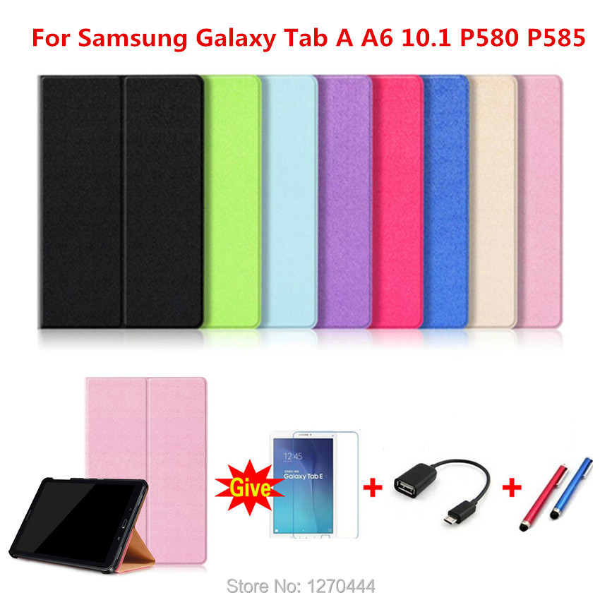 Official Original 1:1 case Cover For Samsung Galaxy Tab A A6 10.1 P580 P585 Cover funda cases Smart Cover shell+Film+Pen+OTG джемпер liu jo uomo liu jo uomo li030emwfe64