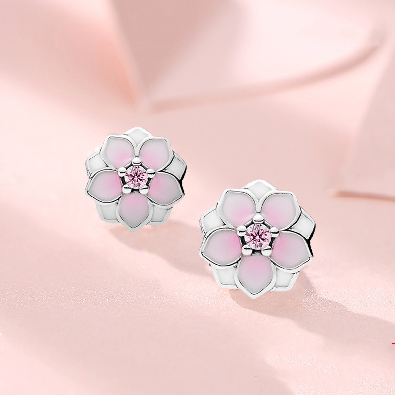 925 Solid Sterling Silver Daisy Cherry Blossom Pink Flower Stud Earrings For Women Jewelry Pendientes Eh174