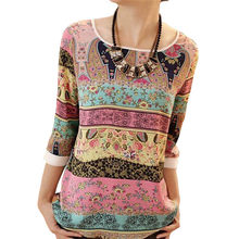 Women Print Blouse Autumn Print Blouse Shirt Ladies 3/4 Sleeve Casual O-Neck Tops Female Blouse Vintage Blusas Camisas Mujer XXL(China)
