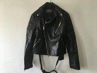 Оформление Бесплатная доставка Новый женский, черный из натуральной кожи Большие размеры куртки Женский бренд дубленка с лацканами модная