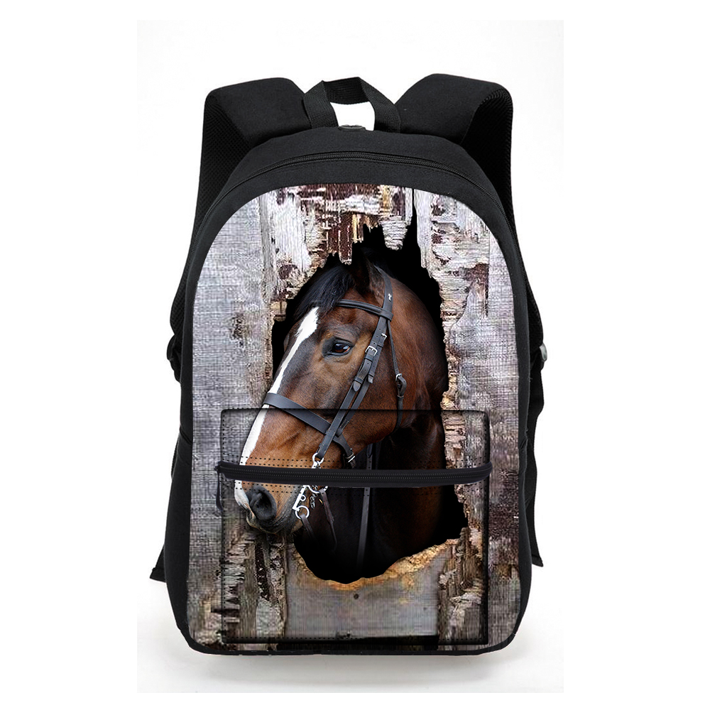 Trendy 3D Animal Horse Printing School Backpack Cool Men Women Travel Backpacks Teenager Boys Girls Laptop