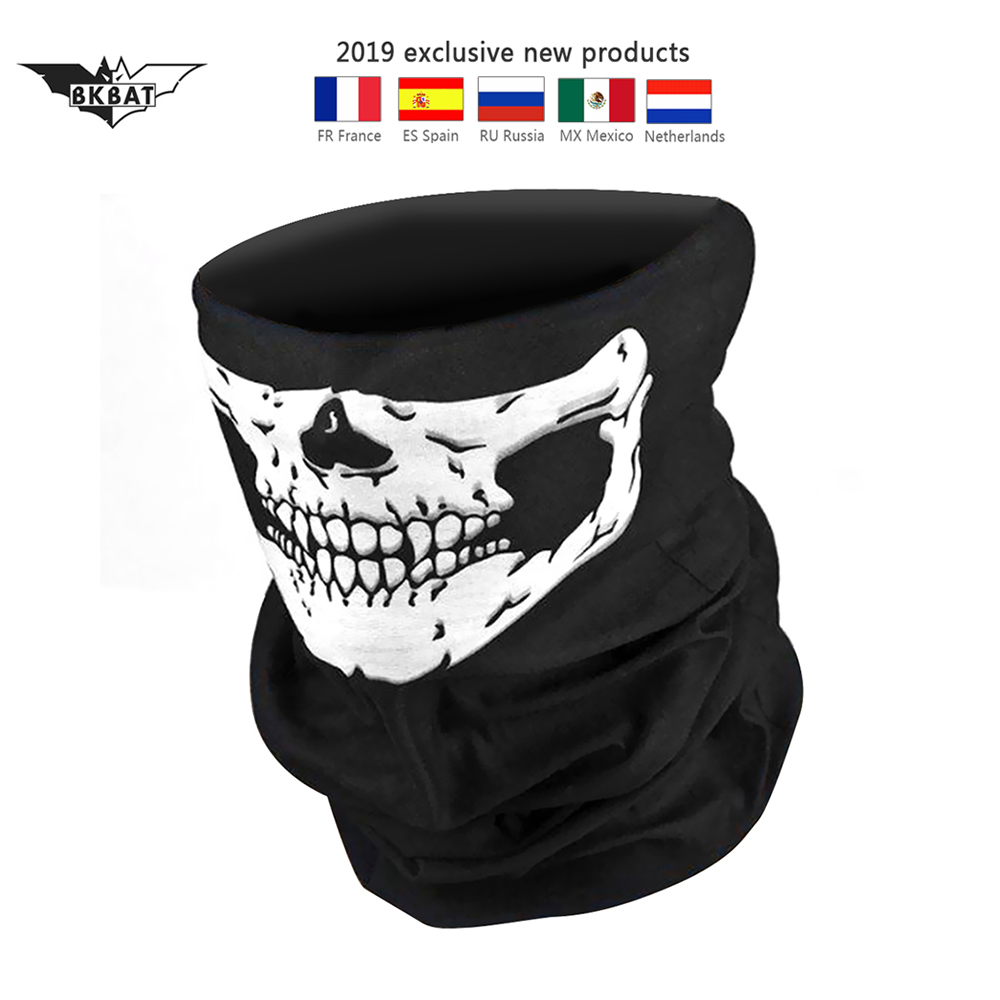 Balaclava for Motorcycle Half Face Mask Cover covers Unisex Ski Moto Cycling black skull summer Neck Sunscreen Guard Scarf 2019