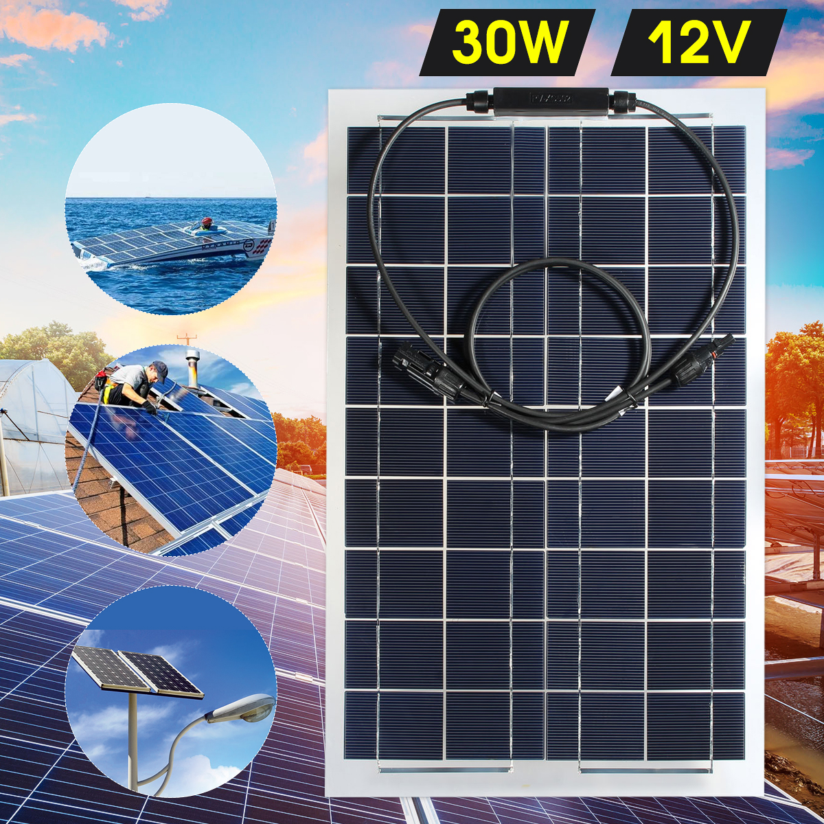 LEORY Flexible Solar Panel Plate 12V 30W Solar Charger For Car Battery 12V Sunpower Monocrystalline Silicon Cells Module Kit leory 12v 4 5w solar panel portable monocrystalline solar cells power charger diy module battery system for car automobile boat
