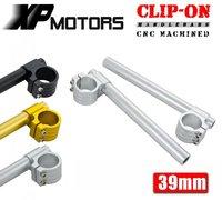 New A Pair Motorcycle Racing Billet CNC 39mm Clip On Handlebars 1 Bar For Harley Davidson
