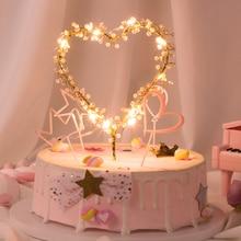 חדש 1PC לב צורת LED פרל עוגת Toppers תינוק שמח יום הולדת חתונה עוגות מסיבת עוגת קישוט כלי