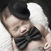 1 Set Baby Hat Bowtie Cap Tie Photography Costume Cosplay Newborn Photo Commemorative Memorial Props Diy Decoration Cute