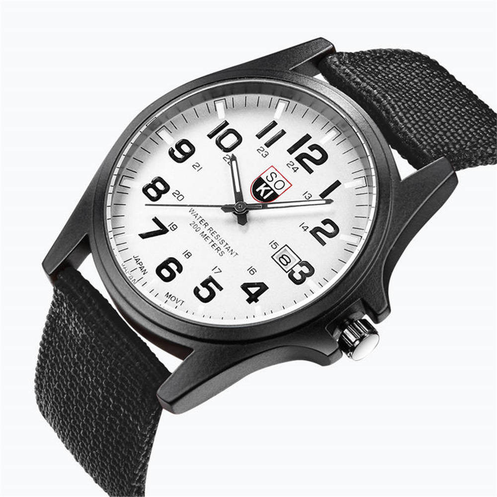 Couple Fashion Nylon strap Analog Quartz Round Wrist Watch Watches  8.8