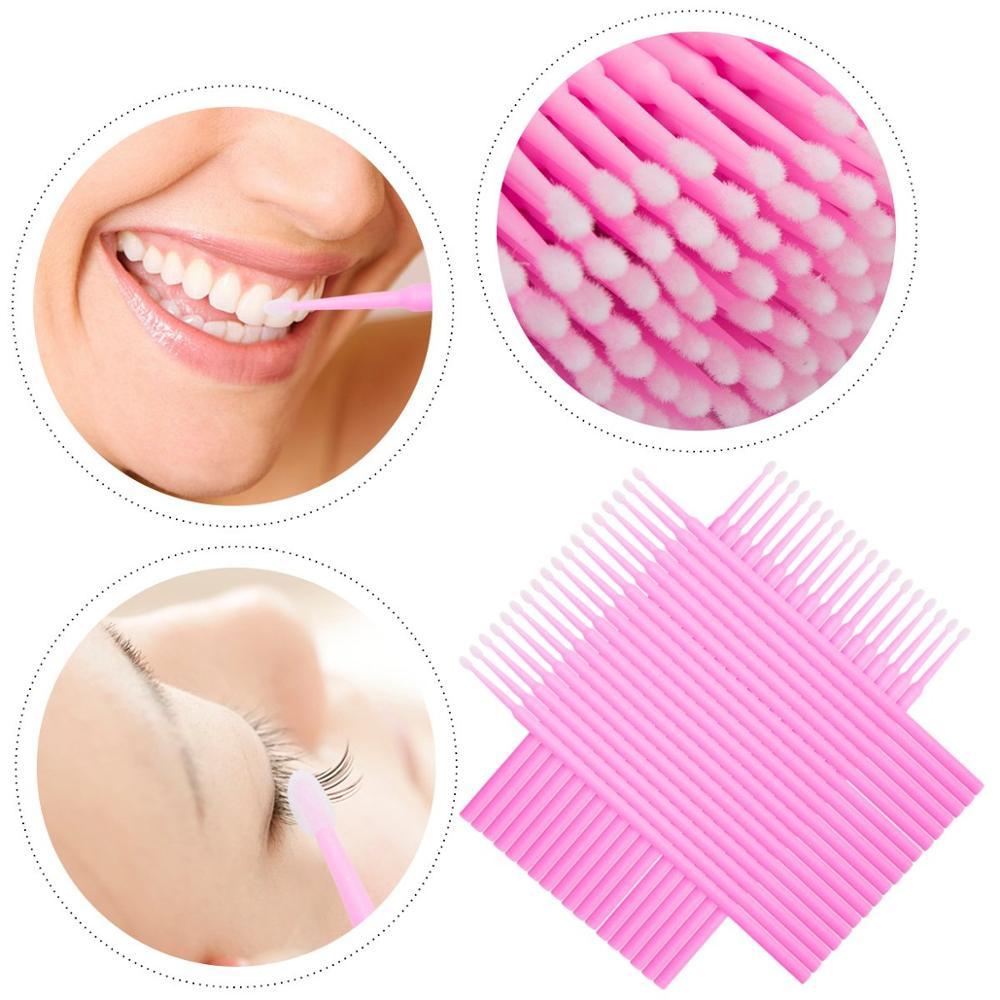 Image 5 - 100pcs Pink Durable Micro Disposable Eyelash Extension Makeup Brushes Individual Applicators Mascara Removing Tools Swabs-in Eye Shadow Applicator from Beauty & Health