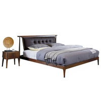 1122H202C Nordic style All solid wood Modern minimalist wedding king size bed Master bedroom furniture bed frame