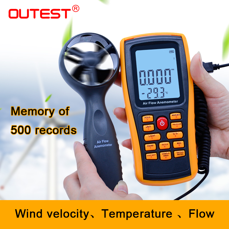 OUTEST 0-45M/S Digital Anemometer Wind Speed Meter Air Volume Ambient Temperature Tester With USB Interface GM8902 цена