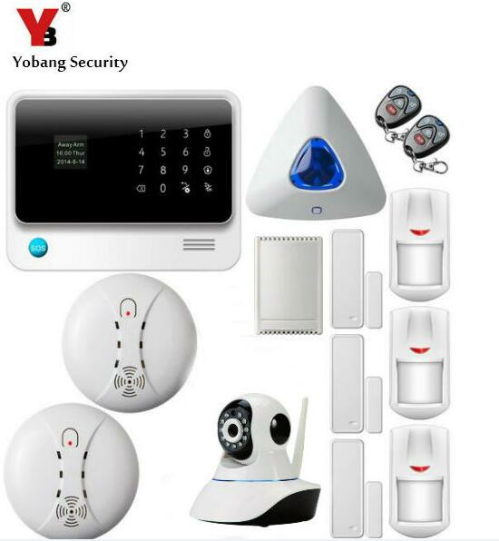 YoBang Security WIFI GSM GPRS Security Alarm System Touch Keyboard Android IOS APP Controls Indoor IP Camera Smoke Fire Sensor.