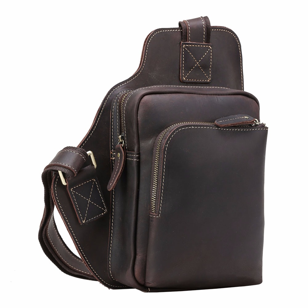 tiding crazy horse leather one shoulder pack cross body travel bag for men women 3141 TIDING Crazy Horse Genuine Leather Shoulder Pack Cross body Bag Clutch Mini with Headphone Hole For Men Women 3178