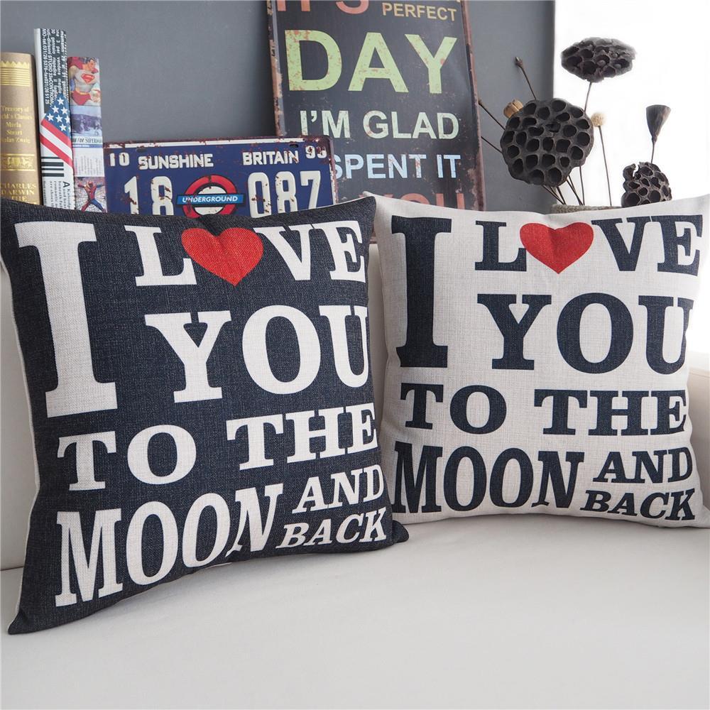 Modern I Love You Forever Pillow ,Couple Models Color Cushion ,Linen Pillowcase,sofa Cushions Home Decorative Pillows