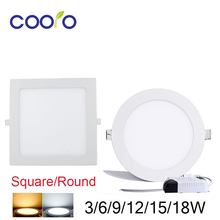 Led Panel Downlight Ultra Thin3w 6w 9w 12w 15w 18w Round/Square LED Ceiling Recessed Light AC110-240V LED Panel Light SMD2835
