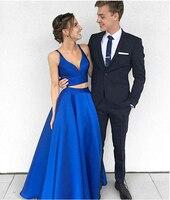 Бургундия двойка длинные Сатиновые платья подружки невесты V образным вырезом для женщин Формальные Выпускные платья 2018 Лидер продаж