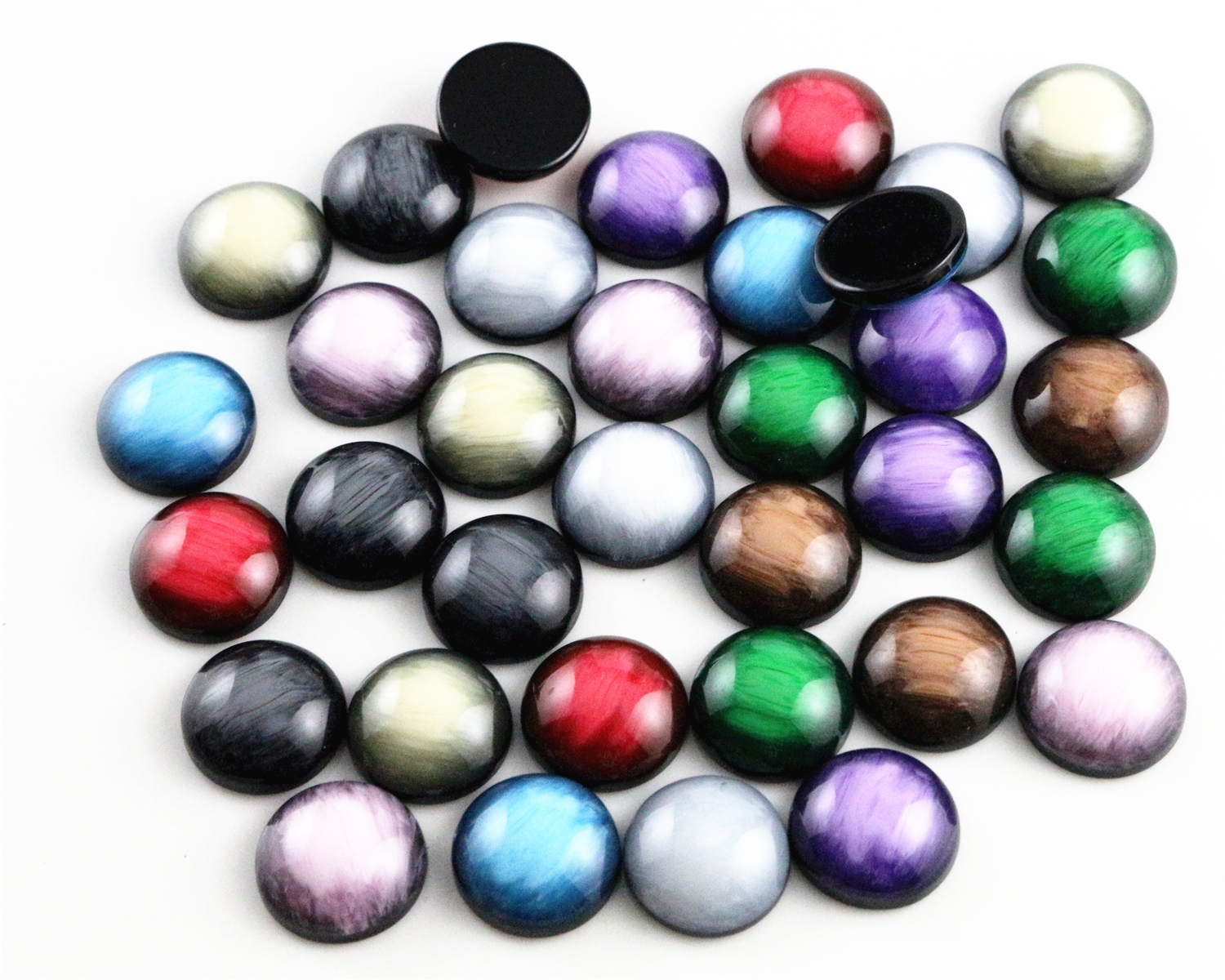 New Fashion 40pcs 12mm Mix Colors Stylish Color Brushed Style Flat back Resin Cabochons Cameo 8mm 10mm 12mm 14mm 16mm 18mm 20mm 7 size style 20pcs lot black shell color flat back resin cabochons cameo