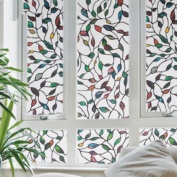 multicolor leaf decorative window film stained glass film stained glass window sticker for bedroom living - Window Film Decorative