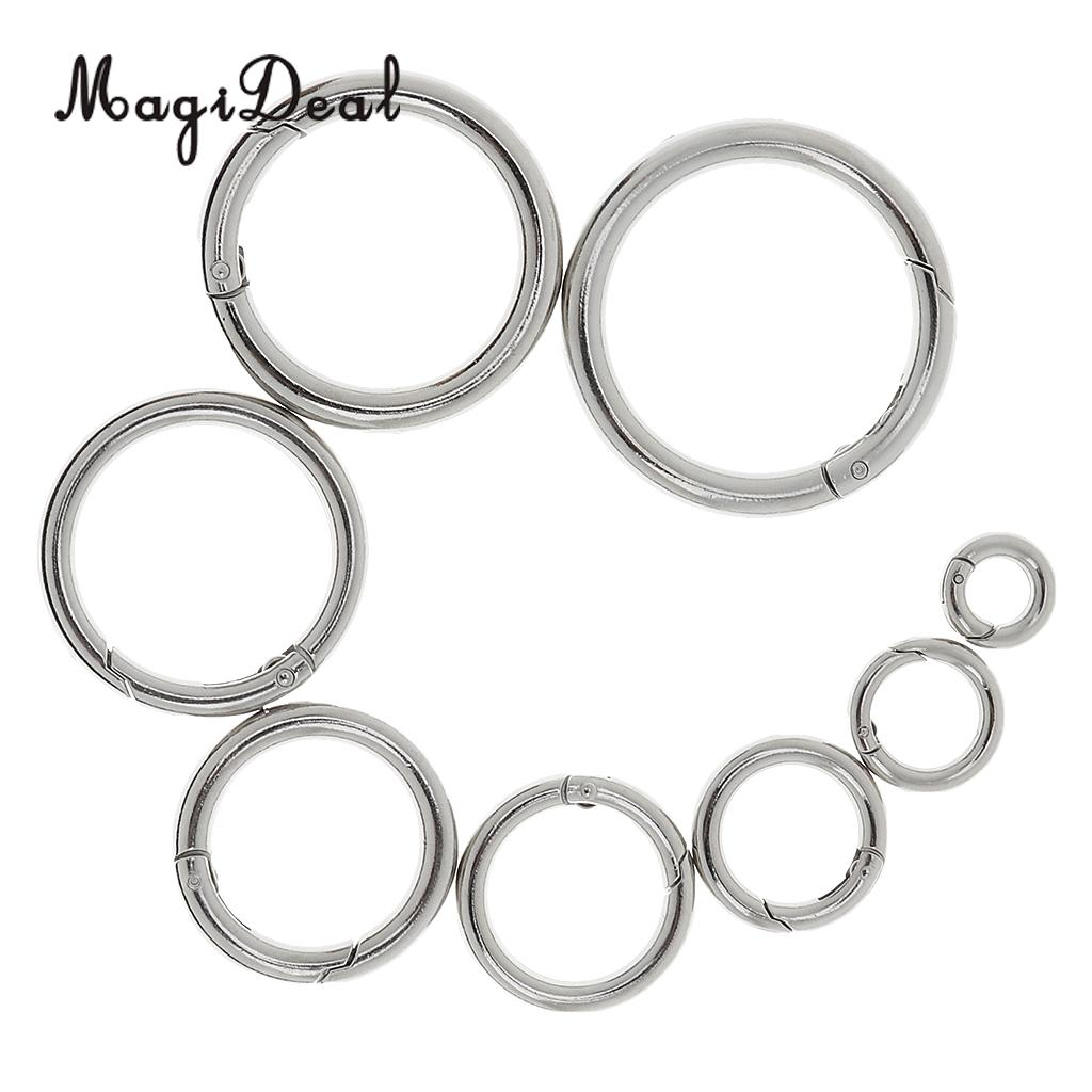 5x Alloy Round Push Gate Snap Open Hooks Spring Ring Key Camping Carabiner 28mm