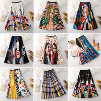 Tutu Limited Polyester England Style Print Midi Skirt Long Skirt 2019 Summer New Digital Printing High Waist Organ Folds Women