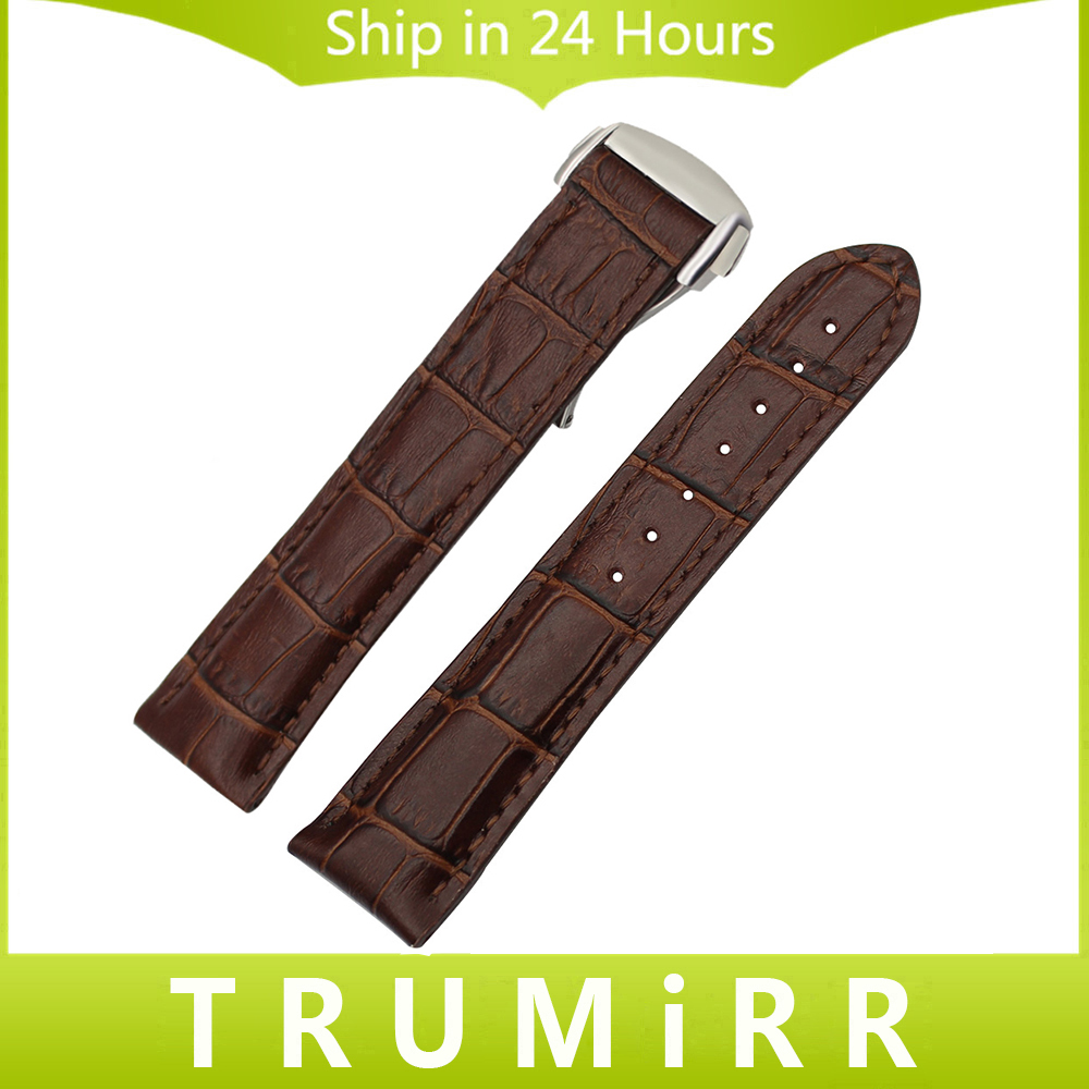 Genuine Calf Leather Watchband 19mm 20mm for Speedmaster Globemaste Olympic Watch Band Butterfly Buckle Wrist Strap Black Brown zlimsn genuine leather watchband 18mm 20mm black brown watch band strap single push butterfly buckle clasp relojes hombre 2017