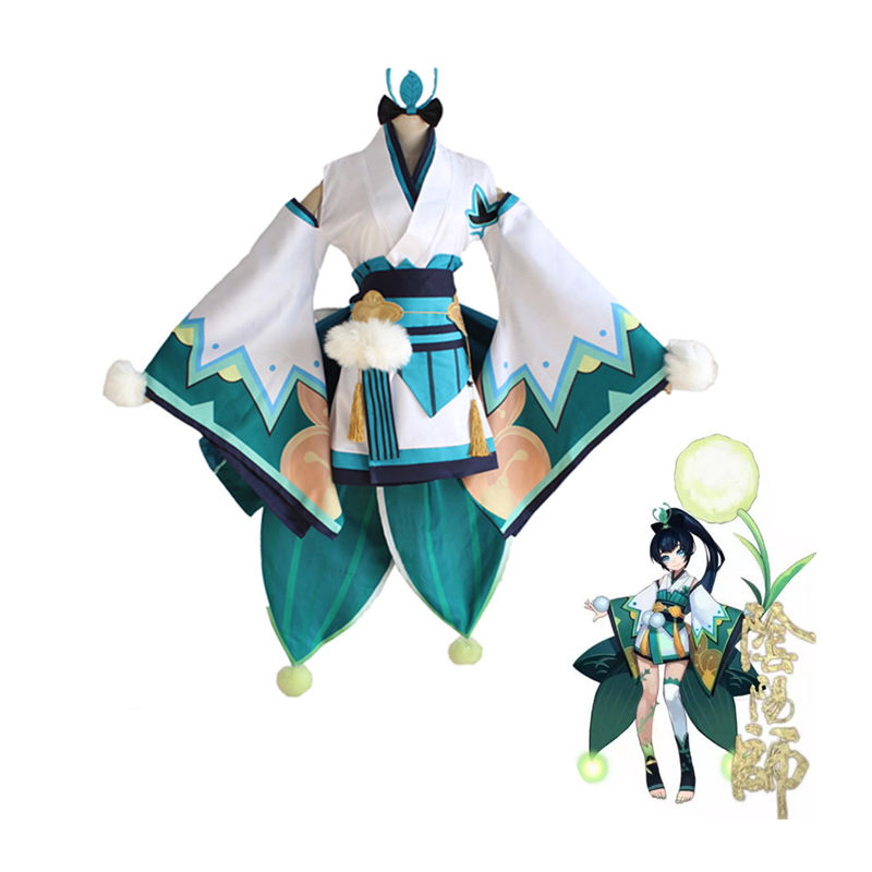 Onmyoji Hotaru Grass Cosplay Costume Full Set Japanese Female Kimono Performance Dress Halloween Women Costumes