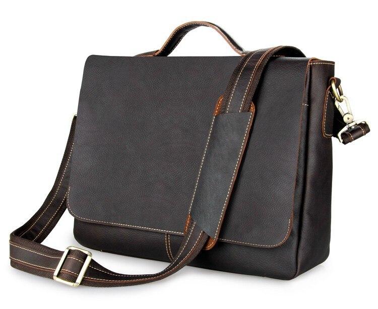 Nesitu High Quality Vintage Dark Brown Thick Genuine Leather Men's Briefcase 14'' Laptop Portfolio Men Messenger Bags #M7108