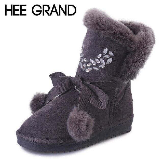 HEE GRAN Invierno de Las Mujeres Botas de Piel de Cristal de Mitad de la Pantorrilla Botas de Nieve Bola linda Enredaderas Zapatos de Plataforma Calientes Mujer Slip On Pisos XWX5090