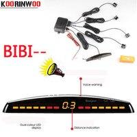 KOORINWOO LED Display Car Parking Sensors 4 Radars Automobile Jalousie Parkmaster Car Detector Parktronic Alarm Black