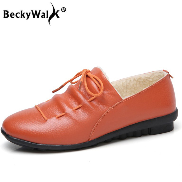BeckyWalk Winter Genuine Pelle Donna Flats Flats Flats Shoes Warm Plush 3a471f