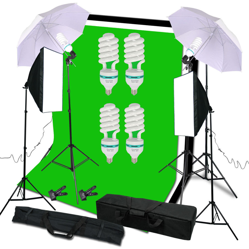 Photo Studio Kit 6 x 9 ft. Green White Black Muslin Backdrop Screen & Supporting System blue wave 18 ft x 40 ft 12yr mesh safety green