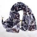 Зима Дамы Кулон Шелковый Шарф Осень Зима Женщины Супер Большой Длинный Шали Шарфов 180*110 см Фиолетовый Серый Шелк шарф Мыс