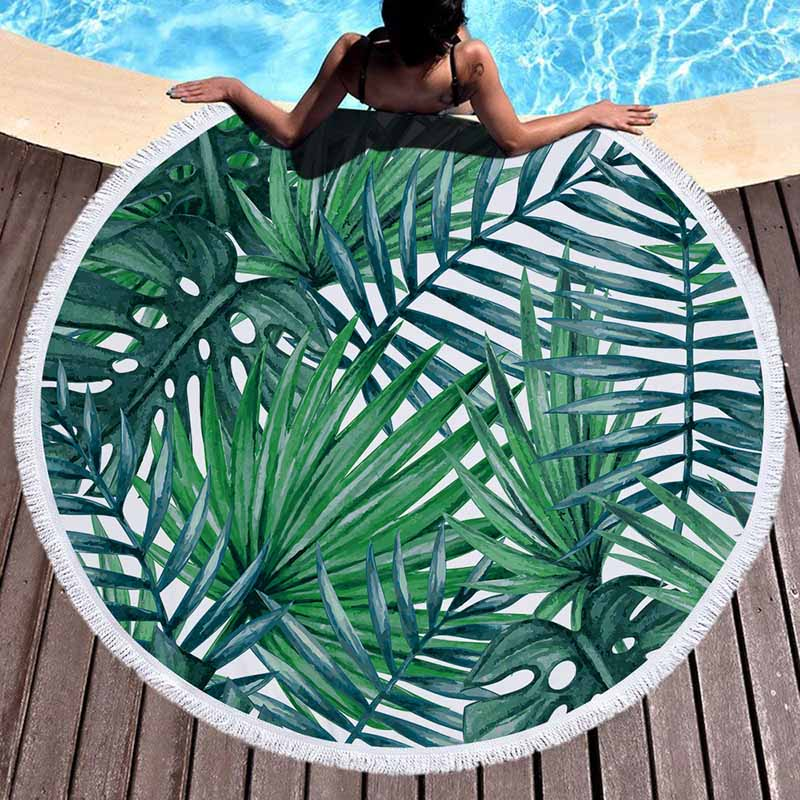 Lannidaa Green Tropical Round Beach Towel For Adults Flamingo Microfiber Towels Large Microfibre Serviette de plage