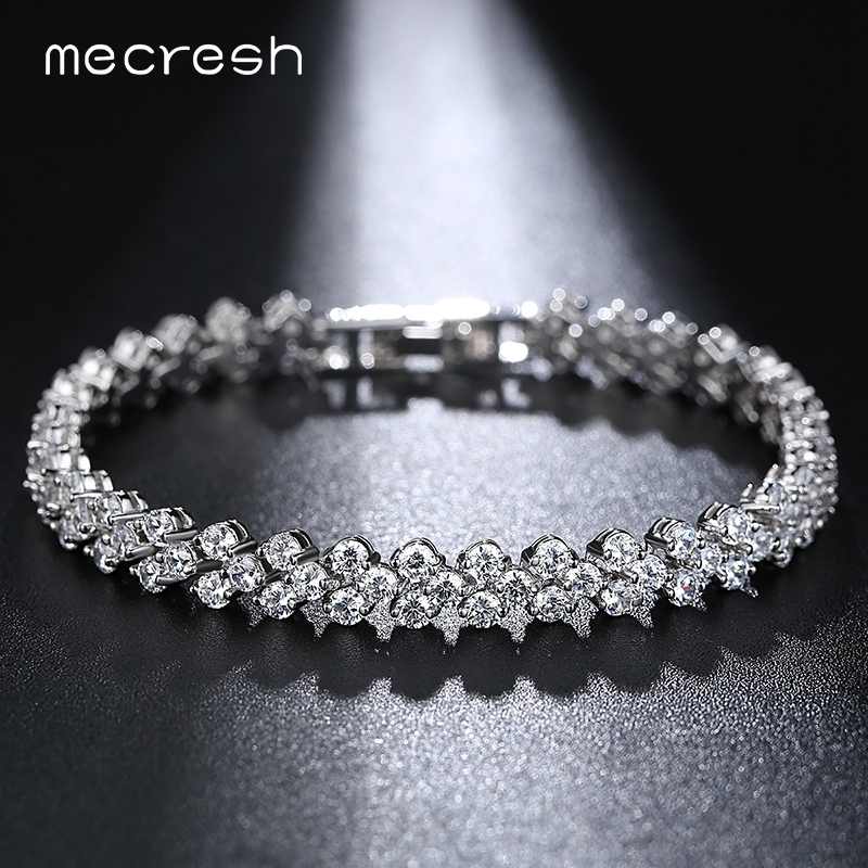 Mecresh Silver Color Charm Wedding Bracelets for Women Leaf-Shape Micro Cubic Zircon Pulseira Feminina Best Gift MSL211 silver multi layers chain with leaf shape charm bracelets