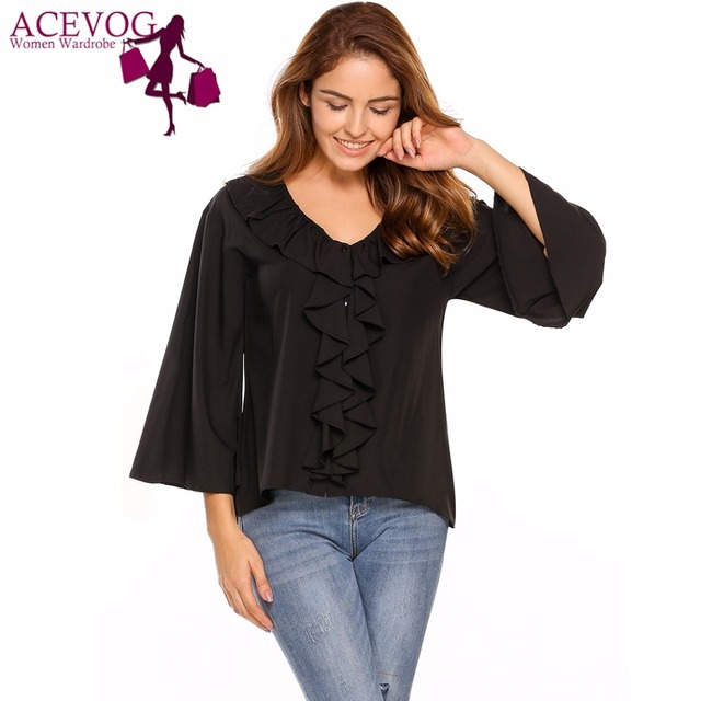 ca94d01b08ddc ACEVOG Vintage Women Blouse Blusas Tops Ruffles V-Neck Flare Sleeve Solid  Casual Button Front Feminino Party Shirt Pullovers