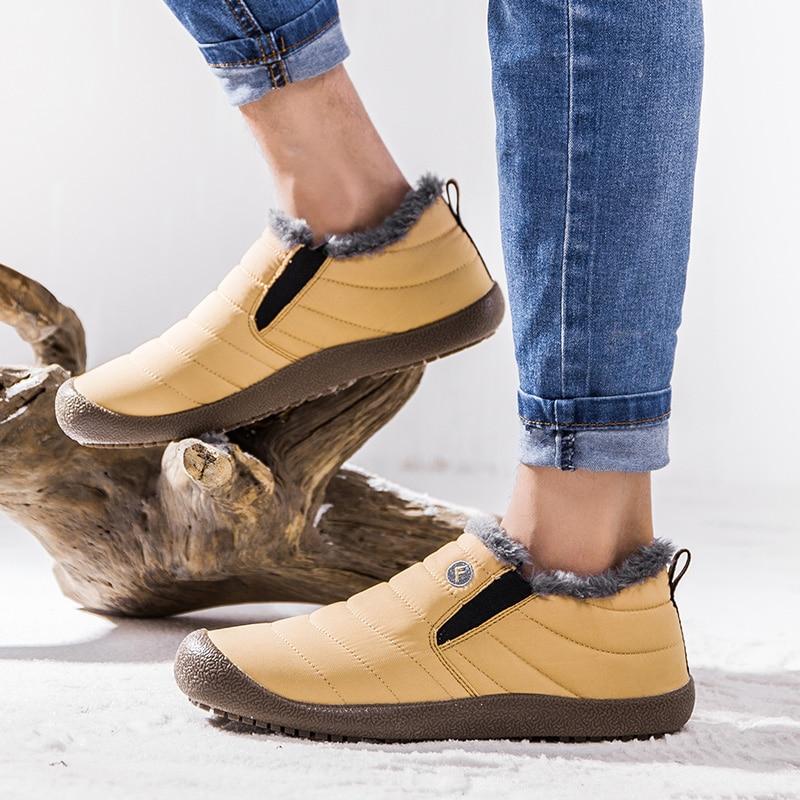 b897f548b53f Plus Size Unisex Waterproof Fur Lining Slip On Snow Boots women Men Shoes  Winter DA120. QQ20180920153309. 27 29 34 ...